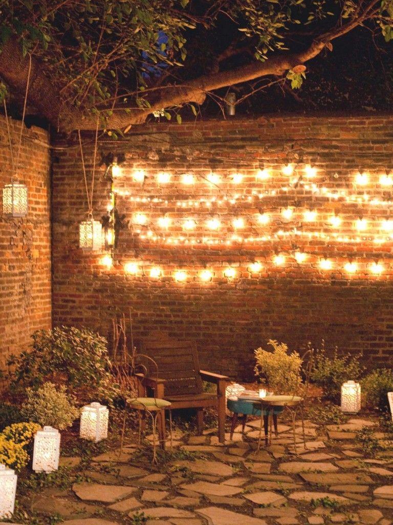 Outdoor Wall Decor Ideas With Wood Plants And Lights Backyard Lighting Backyard Outdoor Living
