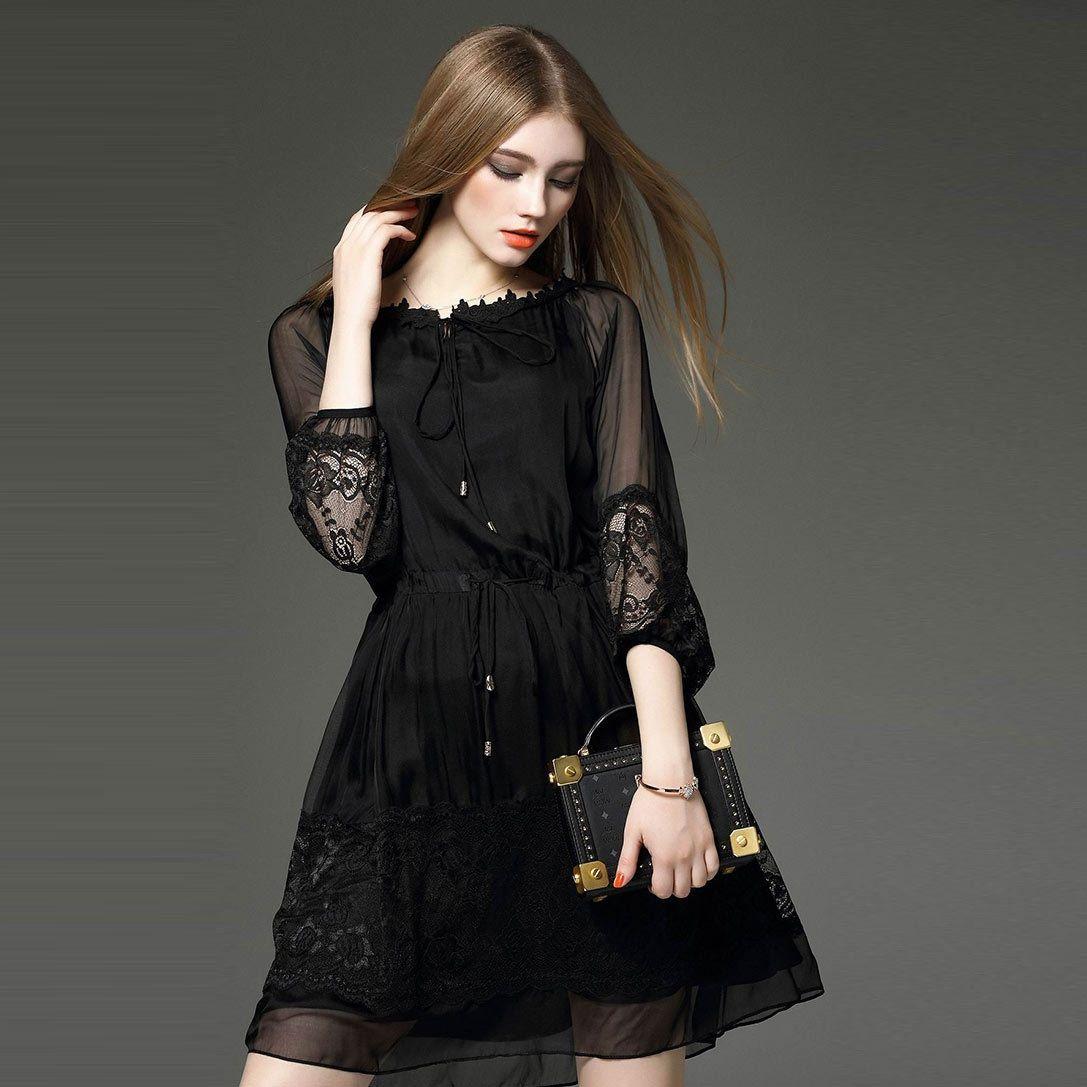 Elegant layered long sleeve black lace mesh dress mesh dress