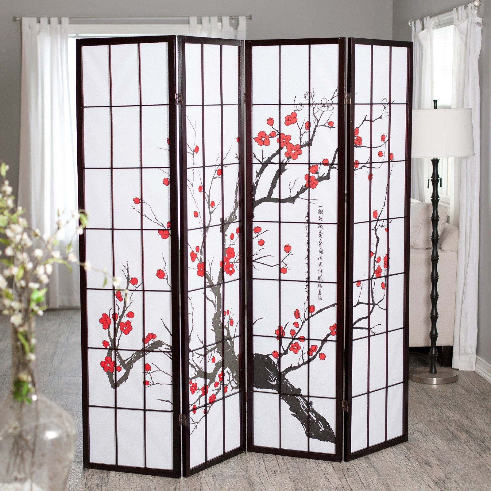 have to have it. cherry blossom rosewood 4 panel room divider