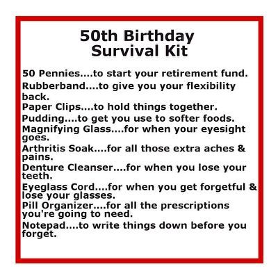 50th Birthday Gift Ideas Diy With Images Birthday Survival