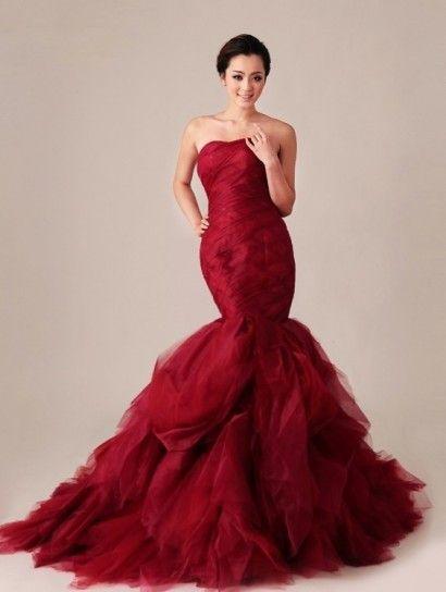 1782e42eb4b2 Abito Da Sposa Rosso A Sirena