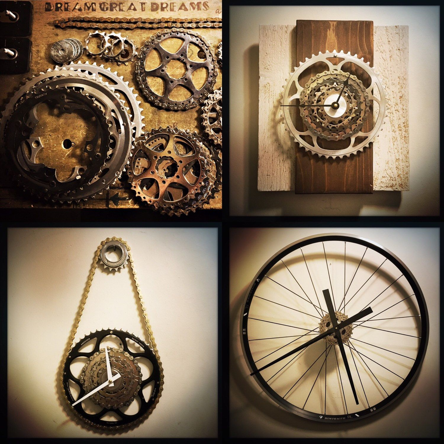 Large wall clock cycling gift for men steampunk decor bicycle explore large wall clocks recycling bins and more amipublicfo Images