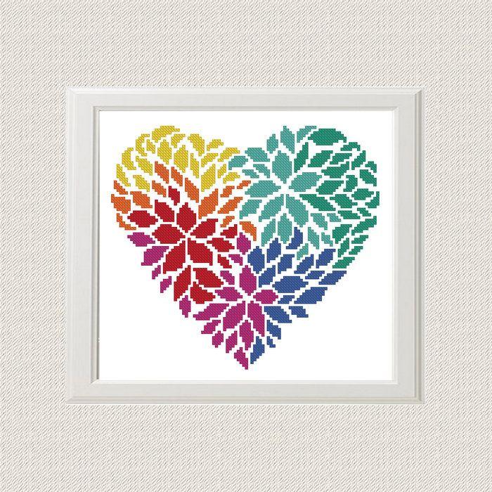 Fleur de coeur motif de point de croix pdf - oreiller ...