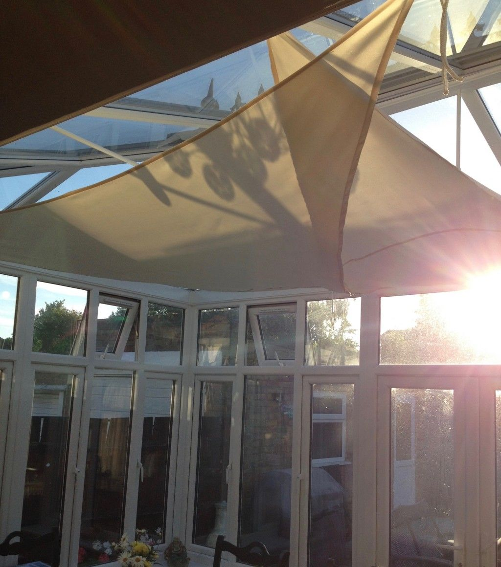 How To Create Shade In A Hot Conservatory Using Shade Sails Conservatory Roof Blinds Conservatory Roof Shade Sail