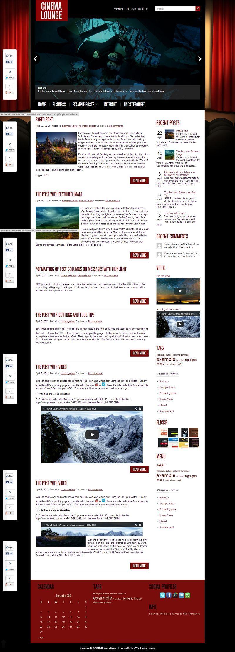 CinemaLounge - Download Free WordPress Theme by SMThemes   Free ...
