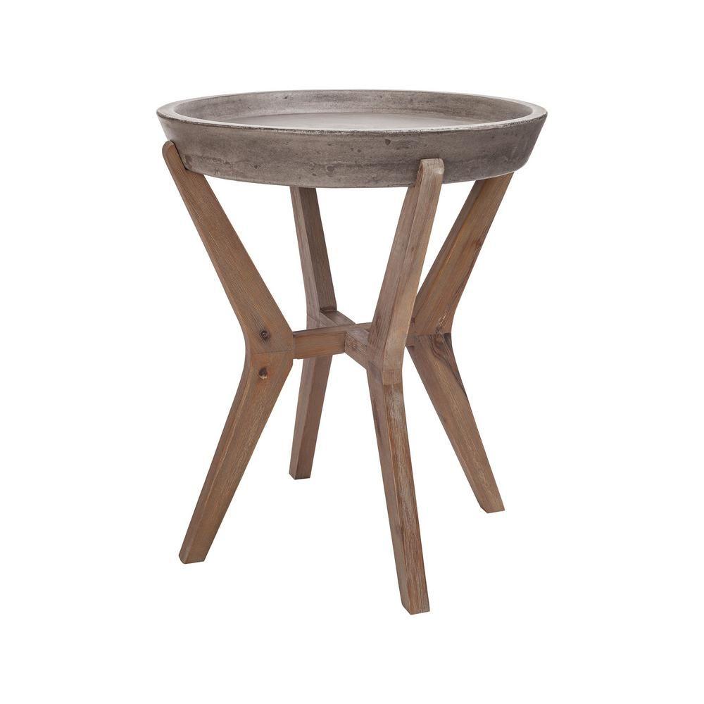 Beautiful Titan Lighting Tonga Waxed Concrete And Silver Side Table TN 891629   The  Home