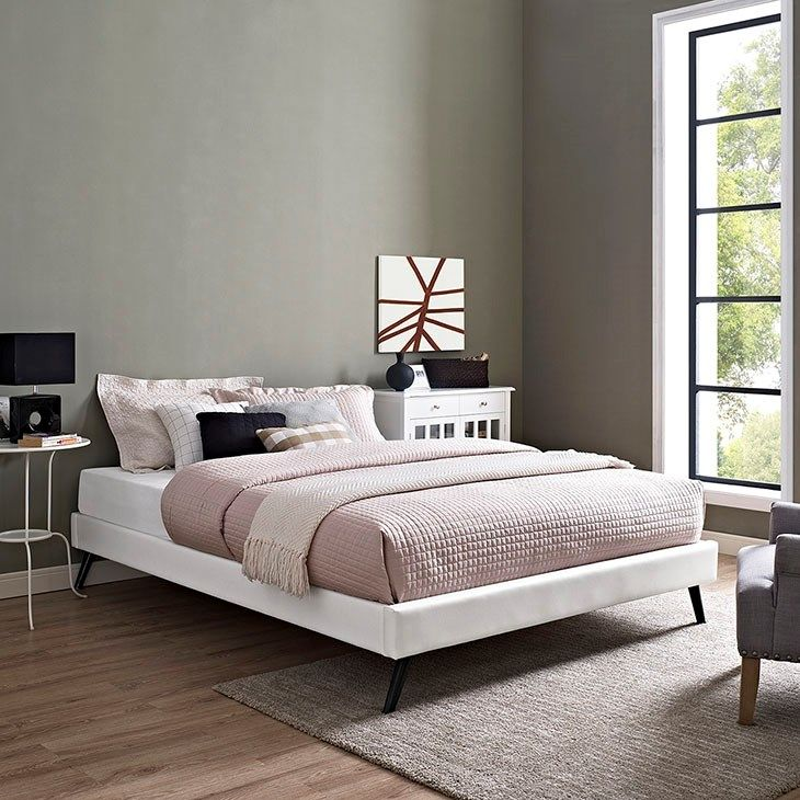 Beautiful LexMod Helen Queen Vinyl Bed Frame with Round Splayed Legs in White In 2018 - Cool bed frames Contemporary