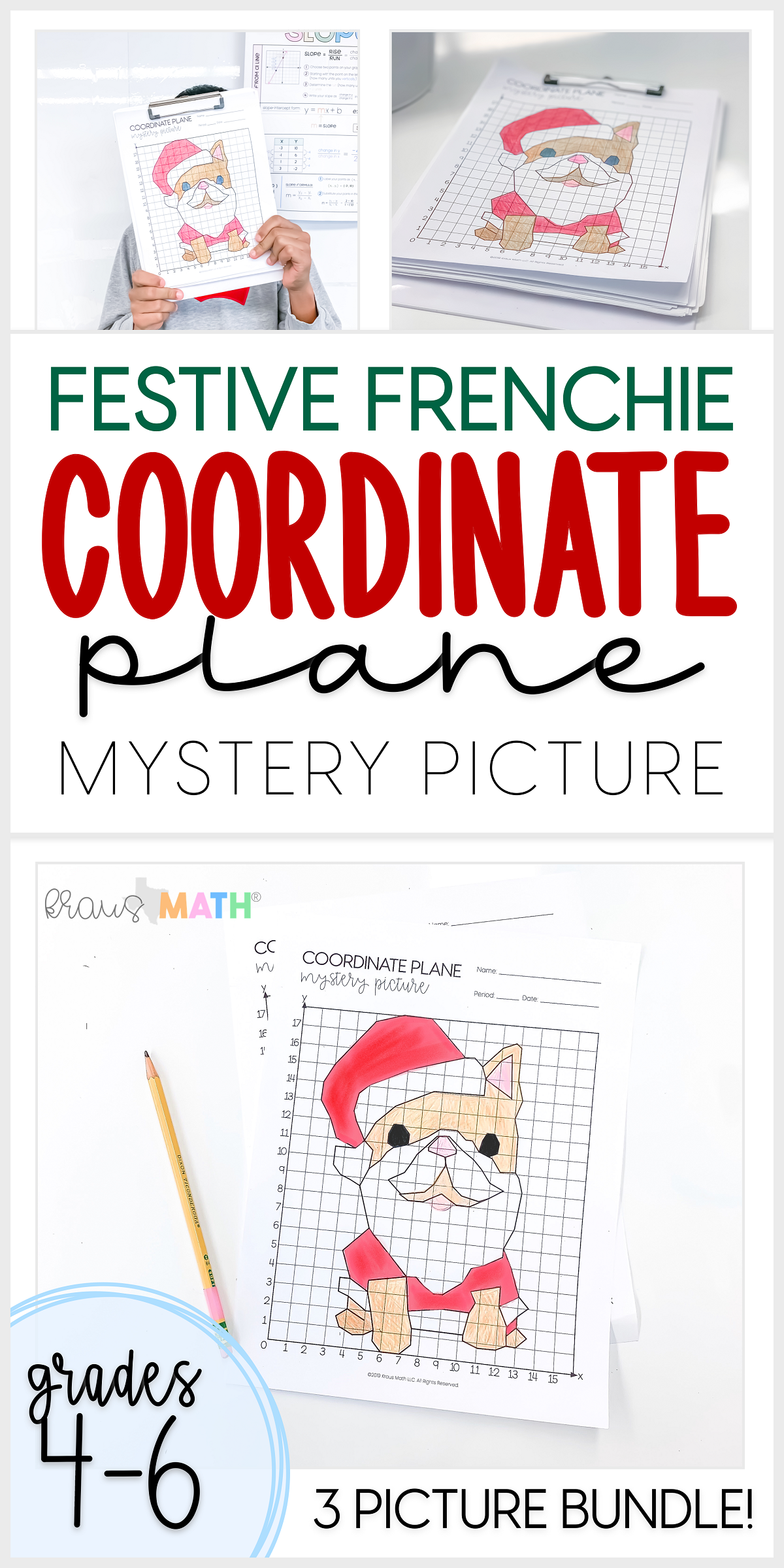 Christmas Festive Frenchie Coordinate Plane Bundle 1st