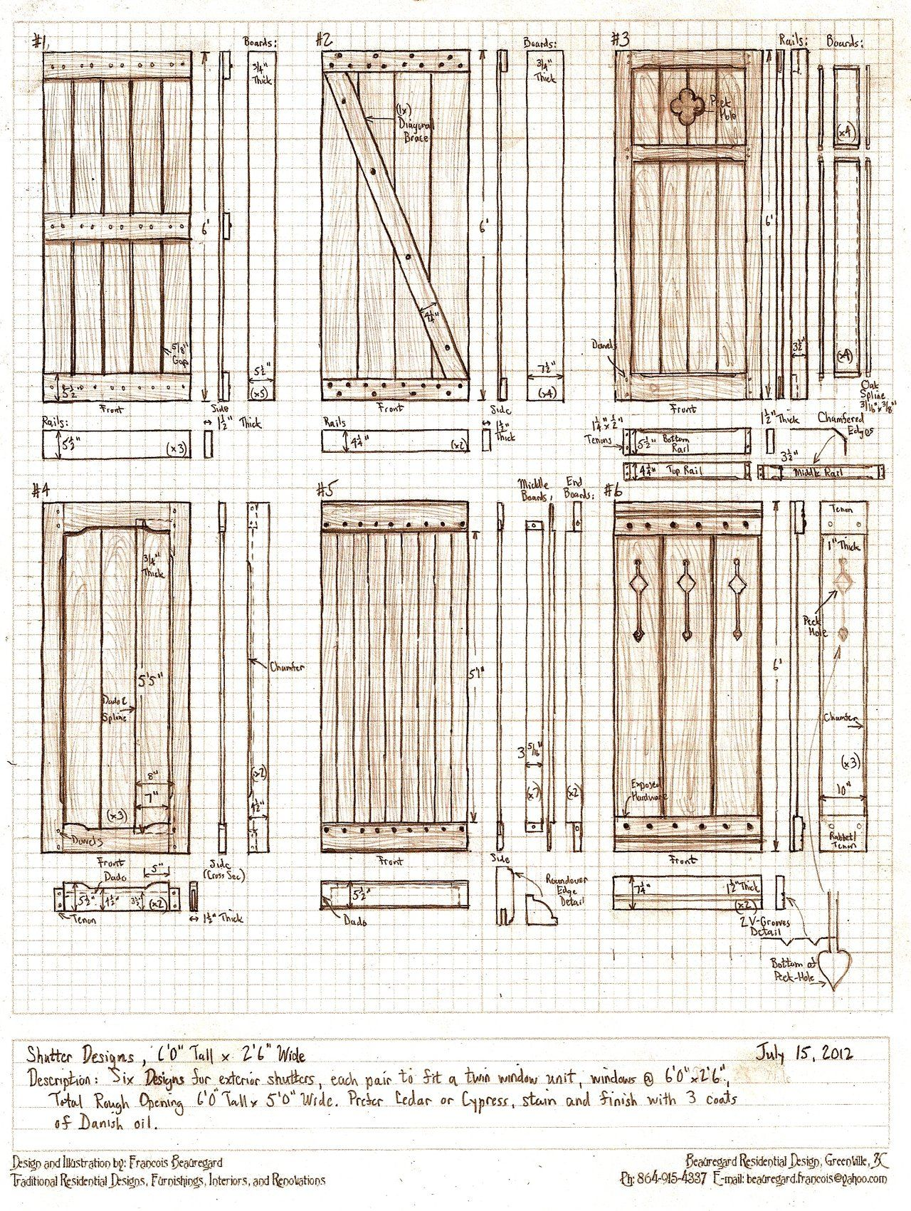 six exterior shutter designs by