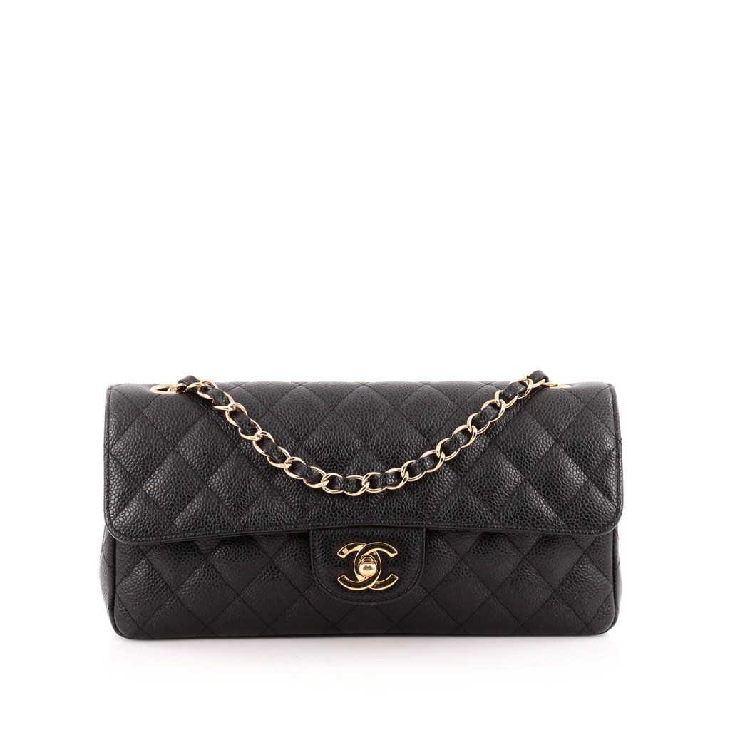 6957b7001ef4a2 Online Sale - Authentic Black Chanel Classic Single Flap Bag Quilted Caviar  East West at Trendlee.com. Guaranteed genuine! Financing available. 1374101