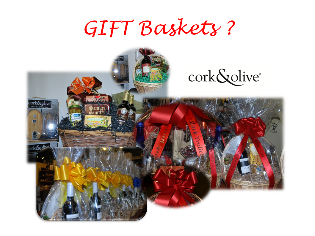 Gift Baskets from cork and olive. #gifts #wine baskets