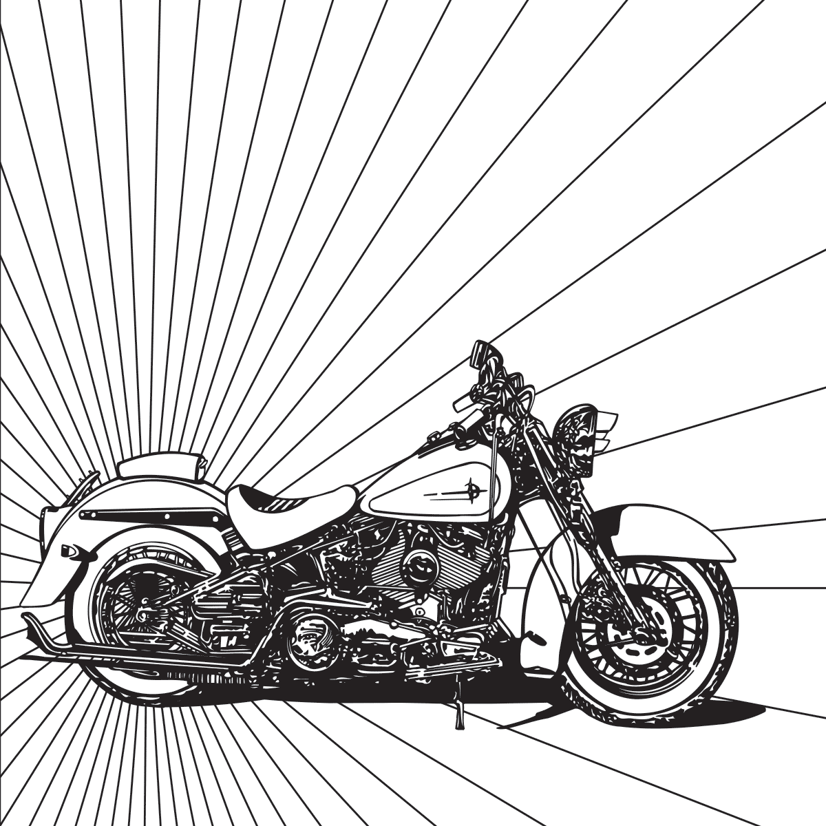 Harley Motorcycle Coloring Page | Free Adult Coloring Pages ...