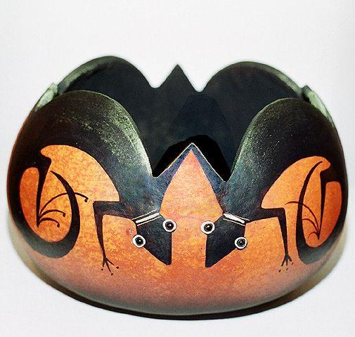 """*Gourd Art - """"Lizard gourd firepot""""  by Robert Rivera"""