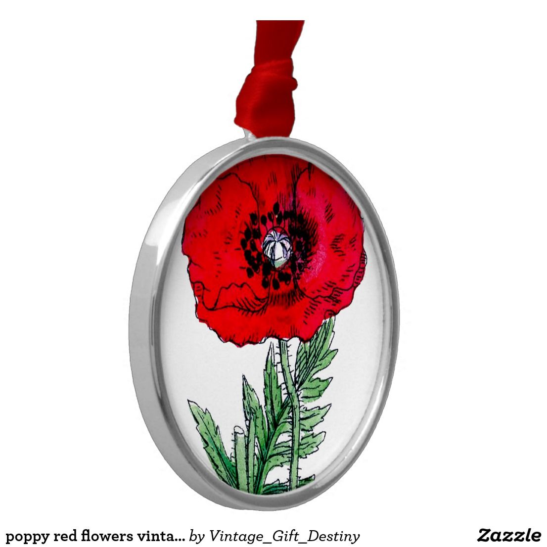 Poppy Red Flowers Vintage Vines Blossoms Ceramic Ornament Blossoms