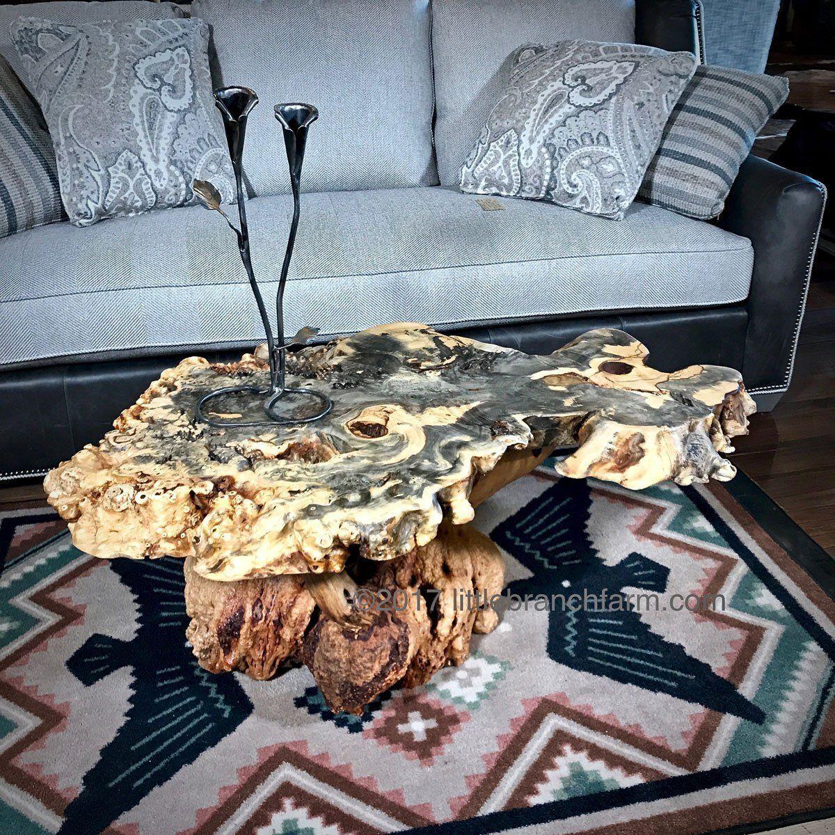 Burl wood coffee table live edge table littlebranch