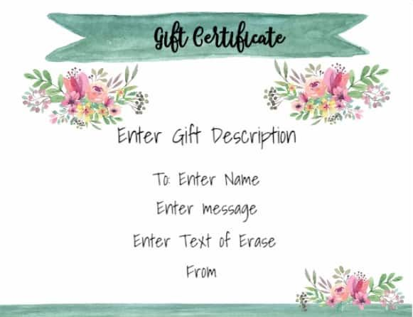 Pretty Gift Certificate Template With White Background With