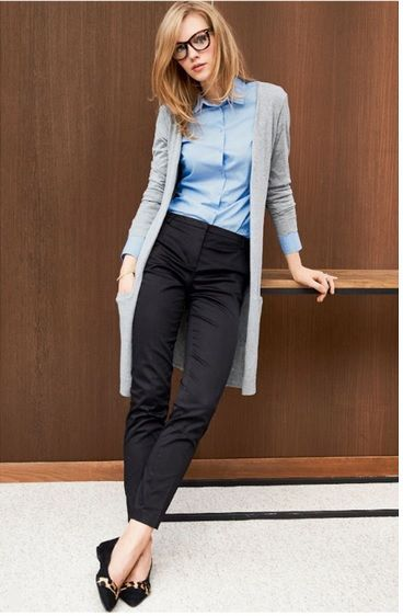 8fa382f3f6e1 Light blue shirt+black pants+black flats with leopard print+grey long  cardigan. Fall Office outfit 2016