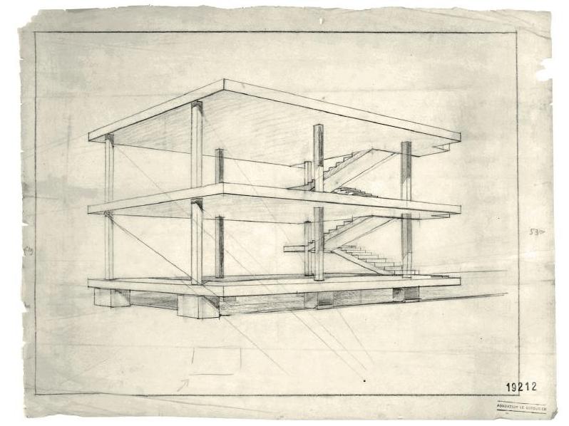 Maison domino le corbusier desenhos arquitetura for Maison domino