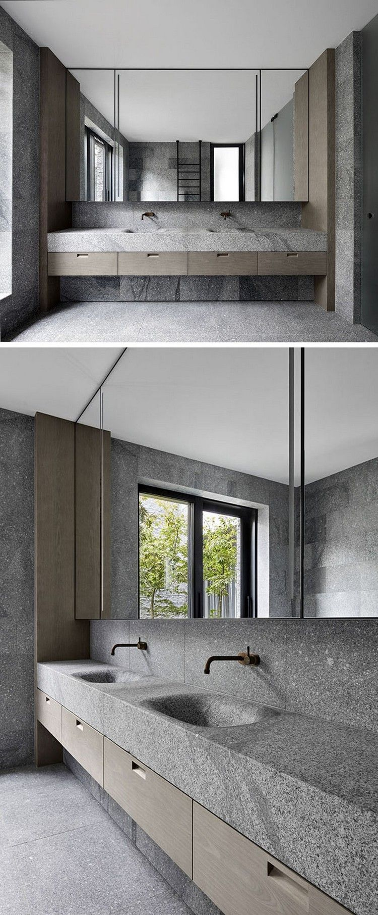 Granitplatten Fur Fassade Und Im Innenbereich Ein Minimalistisches Haus In Australien Waschbecken Design Bad Design Und Badezimmer Innenausstattung