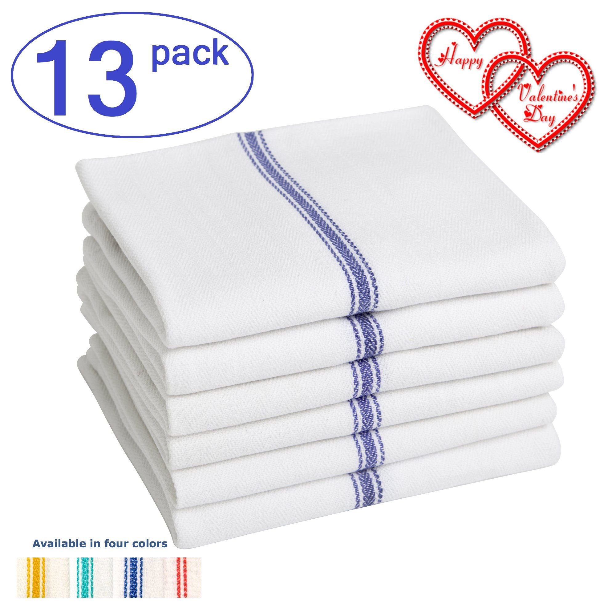 Liliane Collection Kitchen Dish Towels Units Commercial Grade Absorbent Cotton Size X Clic Tea In White With Blue Stripes