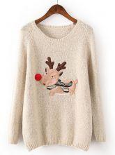 Beige Long Sleeve Deer Pattern Loose Sweater