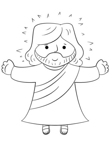 Cartoon Jesus coloring page from Jesus Resurrection
