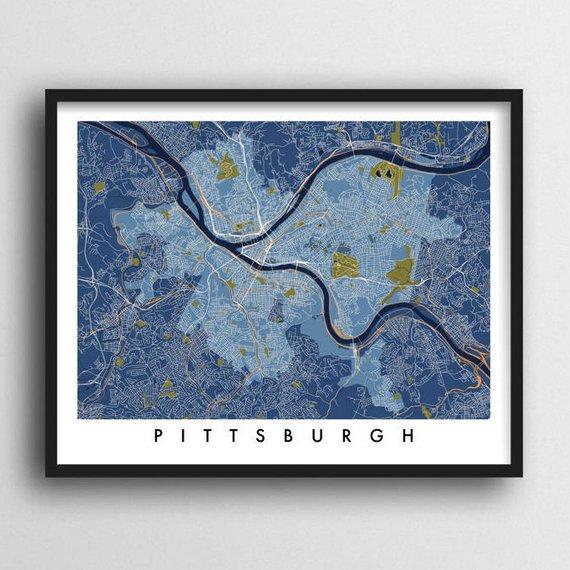 Pittsburgh Pa Map Print Etsy Map Print Wall Art Prints Pittsburgh Map