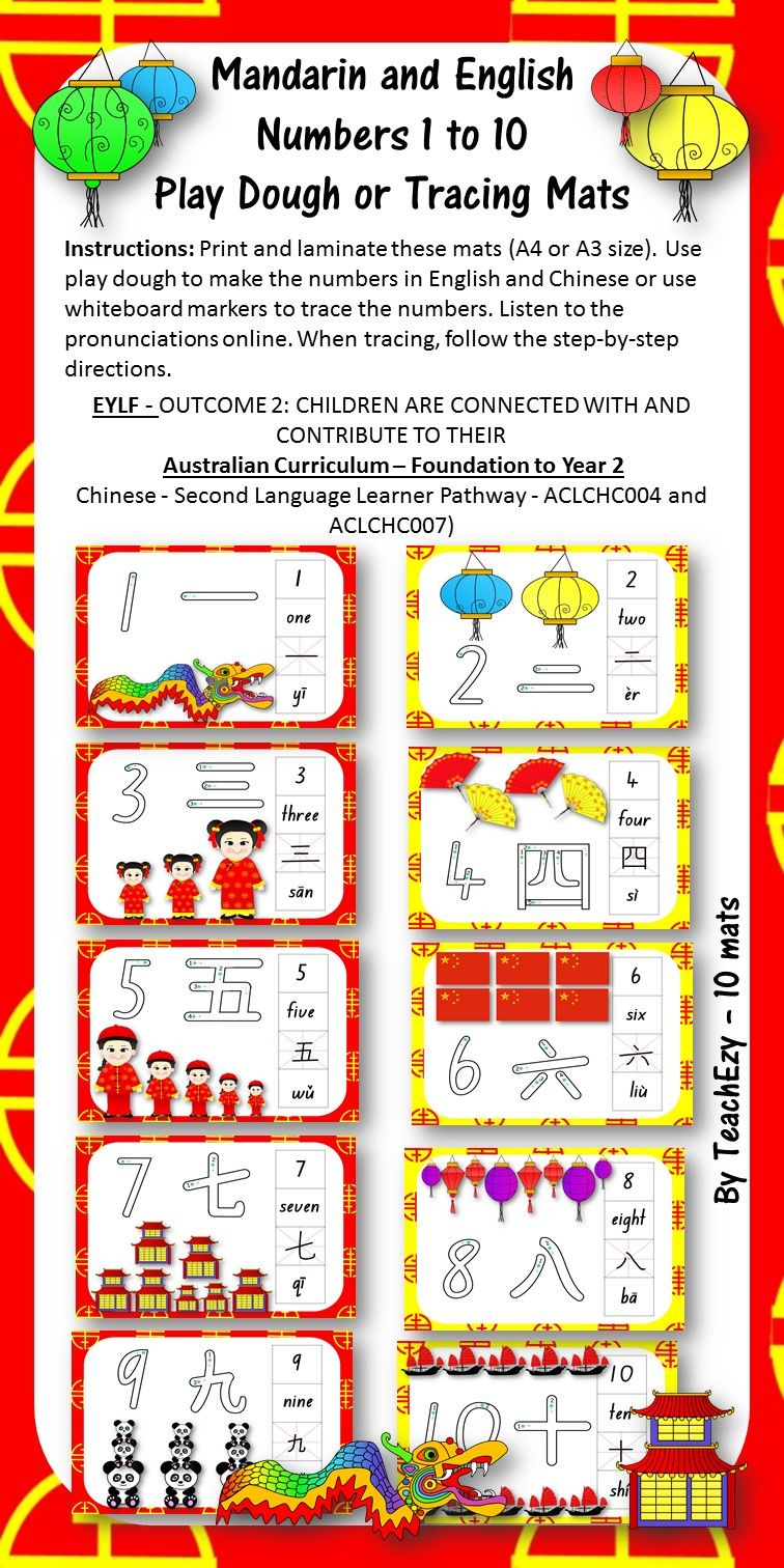 Mandarin And English Numbers 1 To 10 Play Dough Or Tracing Mats 3 20 On Tpt China For Kids Chinese Lessons Mandarin Chinese Learning [ 1512 x 756 Pixel ]