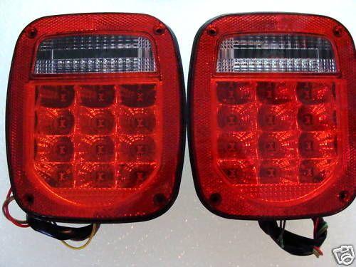 Jeep Tail Light Lenses : Jeep wrangler led tail lights red lens tj cj yj mj