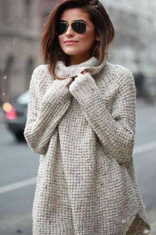 Oversized Speckled Luxe Knit Cowl Neck Sweater | Knit cowl, Cowl ...