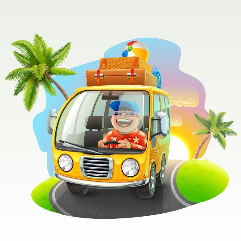 Cartoon tour bus vector material graphic design