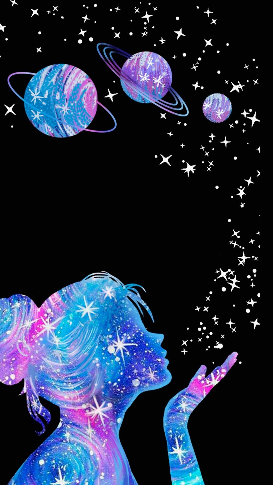 Galaxy Girl Galaxy Wallpaper Art Wallpaper Cute Wallpapers