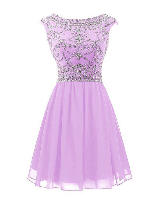 Wedtrend Women\'s Short Beading Homecoming Chiffon V-back Prom Dress ...