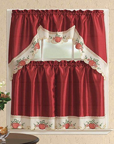 3 Piece Kitchen Curtain Set 2 Tiers And 1 Valance Burgundy