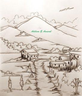 Vilarejo Pintura Veleiro Imagens Para Desenhar Desenhos Paisagens