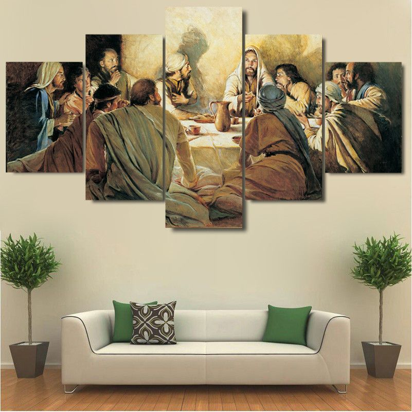 Framed 5 Pcs Jesus Disciples Last Supper Canvas Art Wall Art Picture Home Decor Customized Canvas Art Living Room Canvas Art Cross Paintings