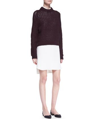 Open-Knit Pullover Sweater and Long-Sleeve Double-Layer Shirtdress by 3.1 Phillip Lim at Neiman Marcus.