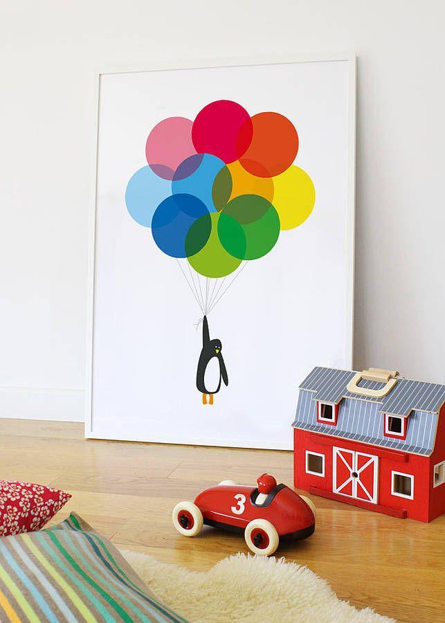 Rainbow Baby Bedroom: 'Mr Penguin Balloon' Print