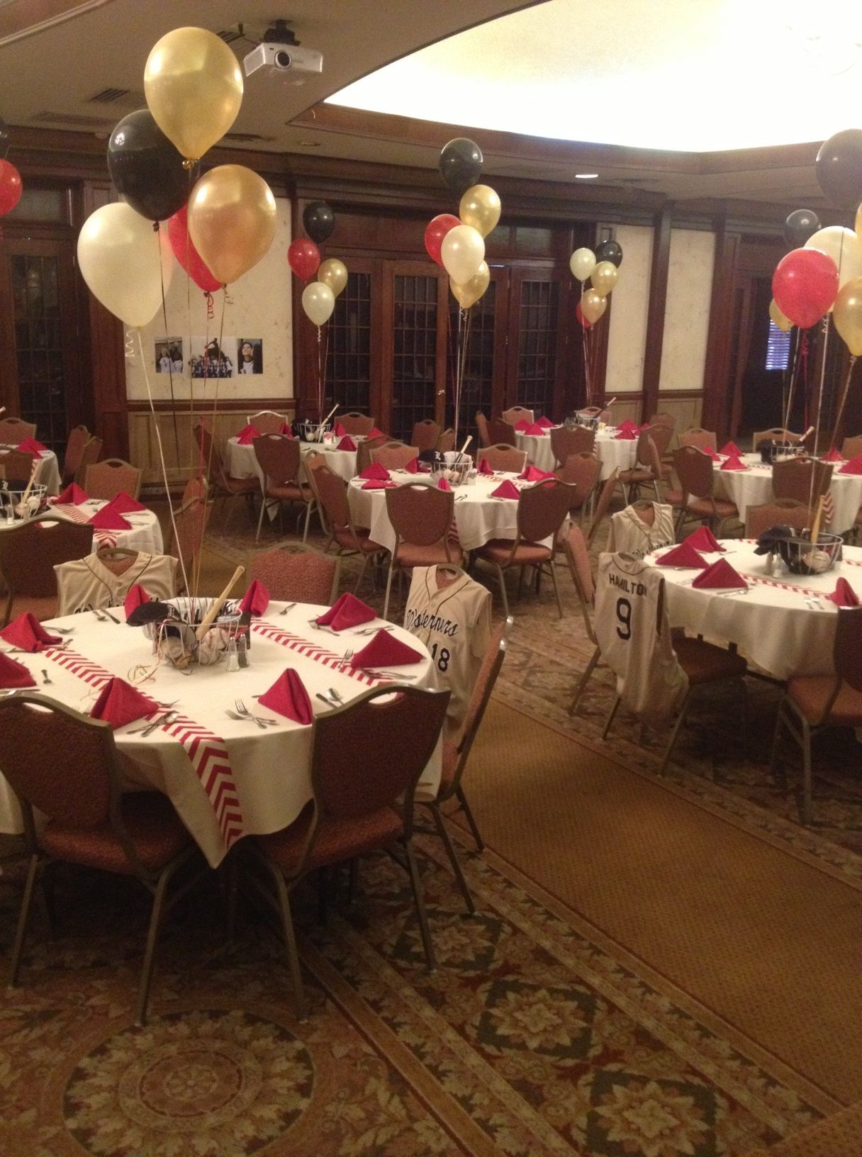 The balloons add height to the tables baseball pinterest