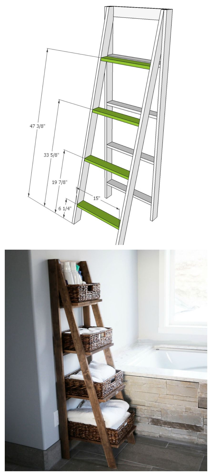 Wooden Ladder Shelf Wooden Ladder Shelf Ladder Shelf Diy Diy Shelves