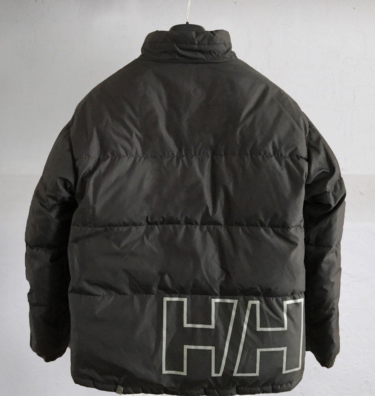 Vintage 90 S Hip Hop Helly Hansen Reversible Goose Down Spell Out Big Logo Puffer Jacket Black Dark Gary Size L Puffer Jacket Black 90s Hip Hop Jackets [ 1500 x 1418 Pixel ]
