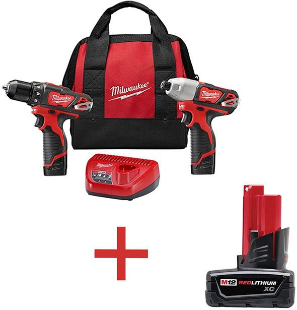 home depot milwaukee drill impact and free battery bundle | 工具箱 ...
