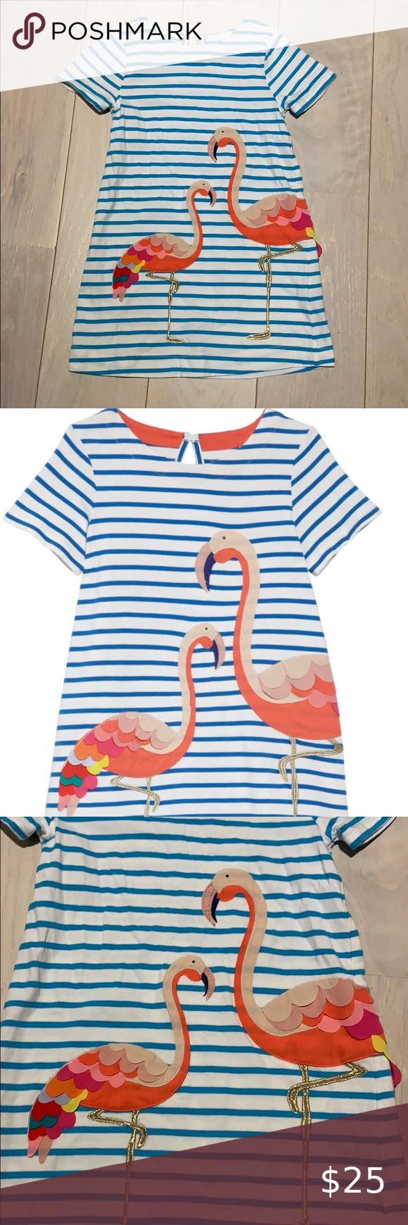short sleeve various sizes available New Flamingo Applique Dress