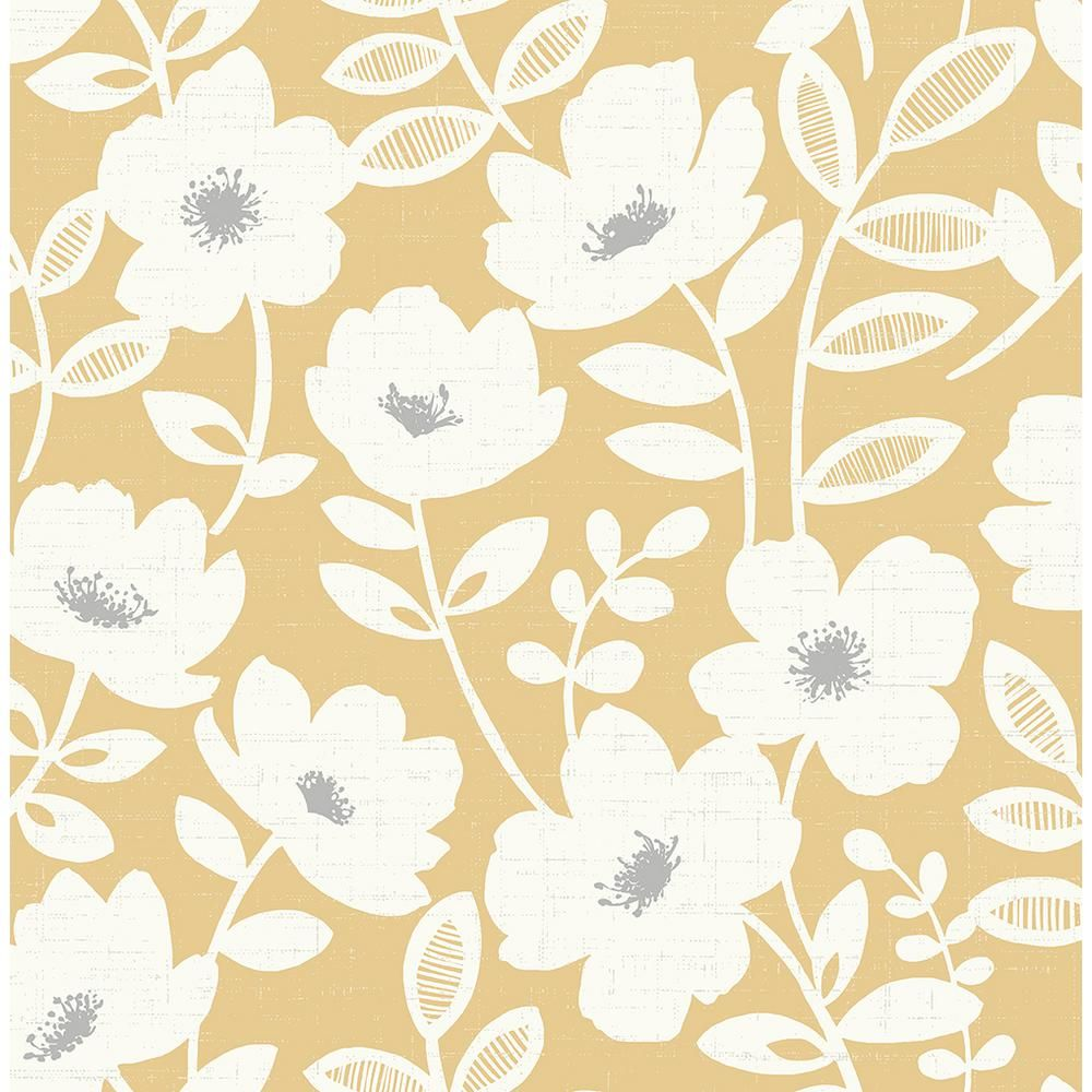 Brewster 56 4 Sq Ft Bergman Mustard Scandi Flower Wallpaper