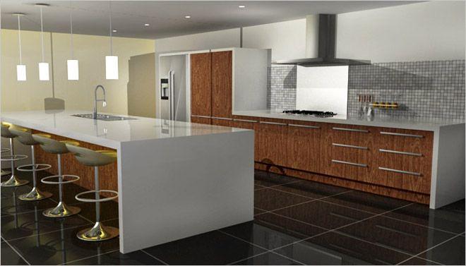 Keukeneiland met stoelen en spoelbak in corian keukens pinterest - Keuken met kookeiland table ...
