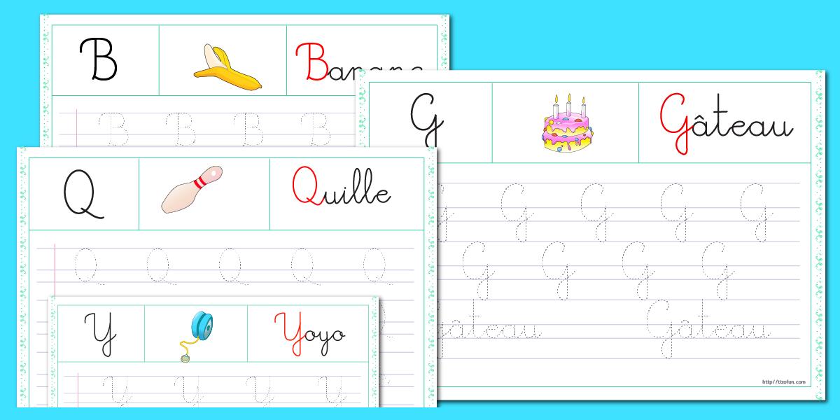 Apprendre crire atelier criture tracer les lettres - L alphabet en francais a imprimer ...