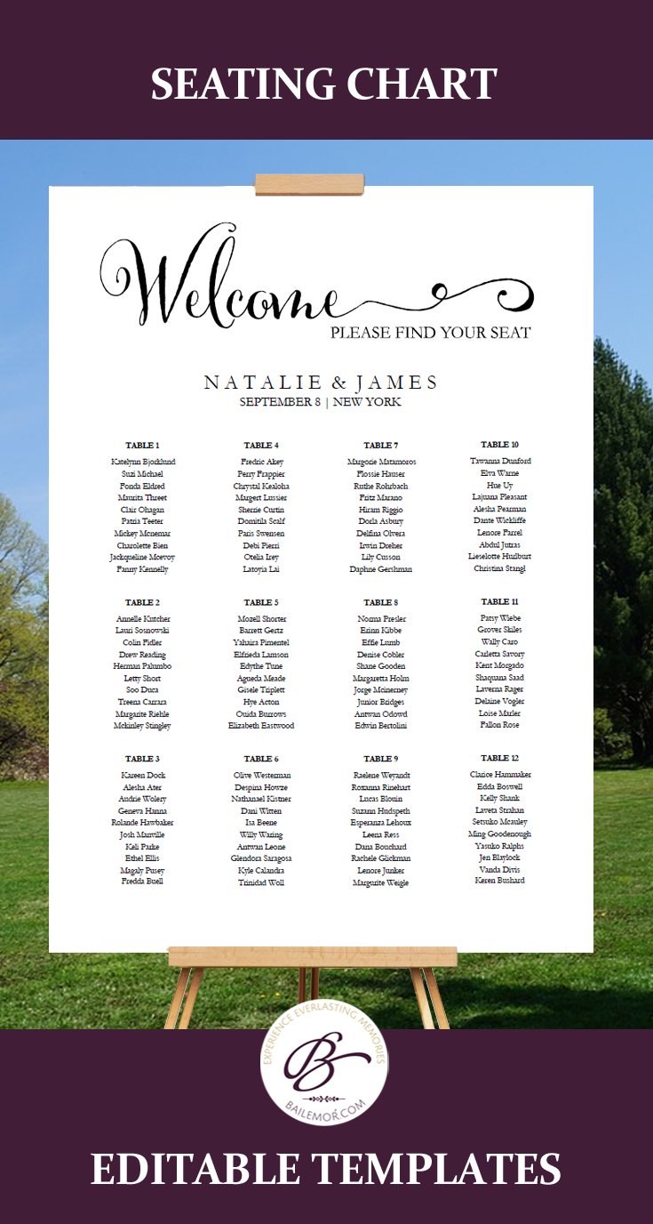 Wedding seating chart seating chart plan printable seating chart editable seating chart template list your guest by table number or alphabetically maxwellsz