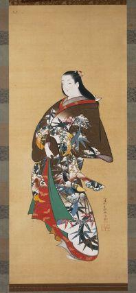 Standing Courtesan Tachisugata yûjo zu 立姿遊女図 Japanese, Edo period, about Hôei (1704–11) to Shôtoku (1711–16) era Matsuno Chikanobu, Japanese, active 1704–1736, Hanging scroll; ink, color, gold, and silver on silk, MFA