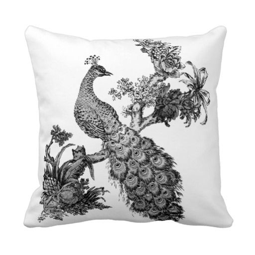 Vintage Peacock on Branch T-shirts and Gifts Throw Pillow