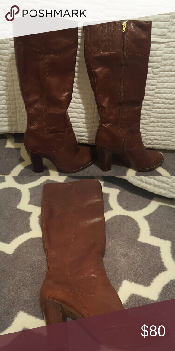 Audrey Brook high heeled boots Brown boots with 3 inch heel. In very good condition. Audrey Brooke Shoes Heeled Boots